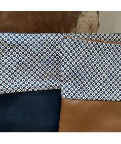 Pochette en cuir et tissu Shibori